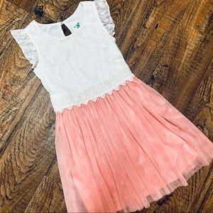 LILY BLEU: Ruffles & Lace Peach & Cream Tea Dress